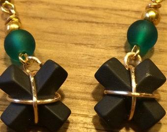 Wedgwood black cross earrings