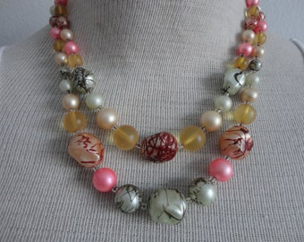 VINTAGE multi colored 2 strand BEADED NECKLACE with adjuster strand