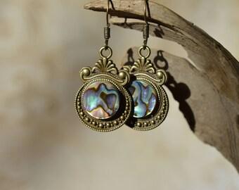 Abalone Earrings in Bronze or Silver