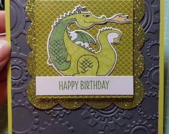 Handmade Happy Birthday Card, Dragon, For Boys, For Him