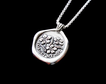 Forget me not necklace Sterling Silver jewelry pendant Forget-me-not necklace pendant flower necklace Wax seal necklace N-211 CC
