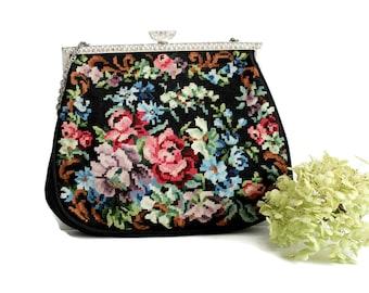Vintage Floral Petit Point Purse Metal Frame Black  Detail Evening Bag
