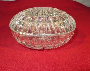 Crystal Cut Glass Trinket Box with Lid 2 Piece Oval Egg Shape