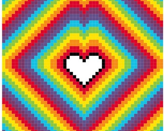 Counted Cross Stitch Pattern Radiating Hearts