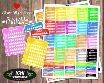 Hydrate Printable Planner Stickers, Hydrate Planner Stickers, Weekly Hydrate Full Box Planner Stickers, Drink Water, Functional Stickers