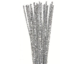 """35, 3mm, Silver Tinsel Stems, Pipe Cleaners, 12"""" Long"""
