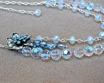 Opalite and Crystal Beads with Vintage Rhinestone Flower Focal Necklace