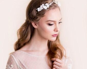 Bridal Flower Crown - Rhinestone Tiara - Wedding Head Piece Floral - Apple Blossom - Silver Hair Accessories