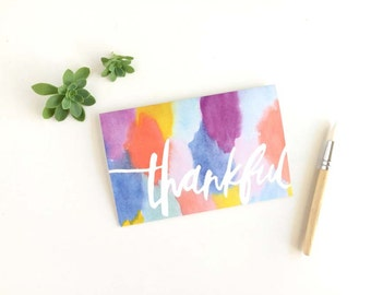 Greeting Cards, Modern Watercolour, Thankful, Hand Painted Lettering, Bright Washes, Rainbow colours, Boho Abstract, Thank You Card, Thanks