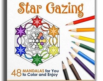 Adulte Coloring Book - livres à colorier conception magique regardant fixement - 48 Mandalas pour la couleur et de profiter de - étoile