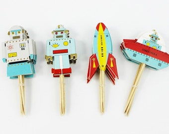 24 pc Colorful Alien Rocket Ship Space Party Supplies Cardboard Cupcake Toppers - 4 assorted Designs with wooden sticks CA040418