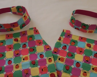 Mommy and Me Apron set and Headbands with Ladybugs – Grandma and Me Apron set with Ladybugs - Mothers Day Apron set,  Headbands w/  Ladybugs