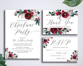 Christmas Invitation suite, Winter Printable Invite Suite, Holiday Invites Set, Watercolor floral wreath