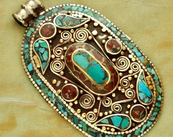 Tibetan Handcrafted Turquoise Coral White Metal Focal Bead