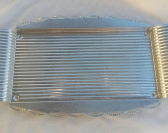 Light Weight Long Metal Serving Tray Ribbed Barware Man Cave Garage Platter