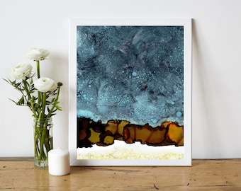 Minimalist Abstract Printable, Abstract Art Print, Abstract Painting Print, Alcohol Ink Painting, 8x10 Print, Modern Home Decor, Night Sky