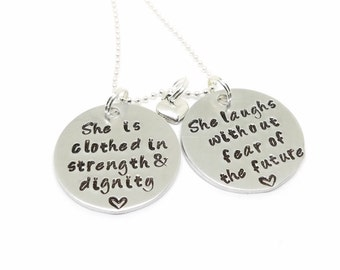 She is Clothed in Strength and Dignity Necklace   Proverbs 31 Necklace   Bible Verse Necklace   Hand Stamped Christian Jewelry   Scripture