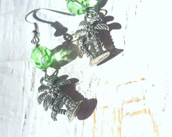FINAL SALE Palm Trees earrings silver and green crystals