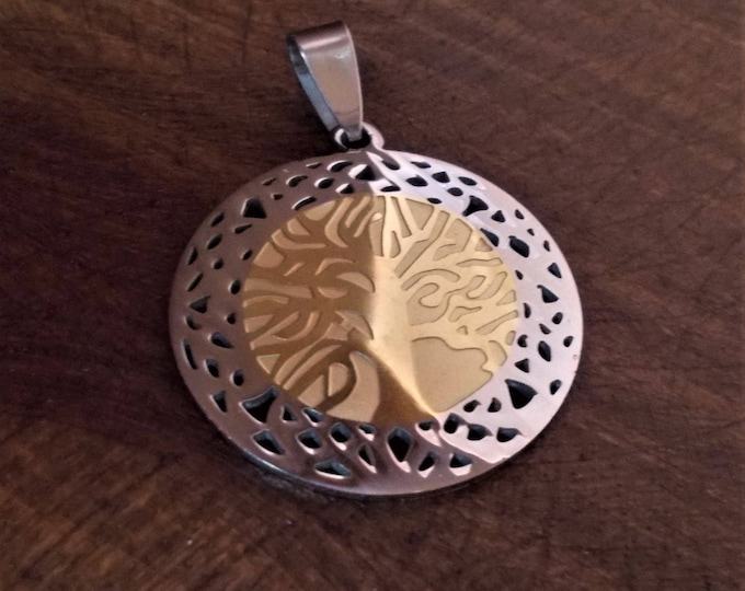 Tree of life - stainless steel pendant on black cord sacred geometry necklace.