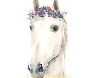 Horse Print, Horse Wall Art, White Horse Art, White Horse Print, Horse with Flower Crown, Farm Animal Prints, Girls Room Decor