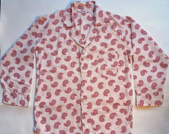 Vintage Men's Pennleigh Pajama Top - Red & White Paisley Print - Long Sleeve - Button Front - Retro Sleepwear - Vintage Sleepwear