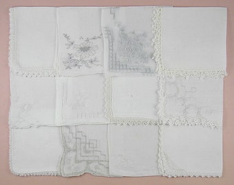 Vintage Hanky Lot,Wedding Hanky Lot,One Dozen White Wedding Vintage Hankies Handkerchiefs (Lot #94)