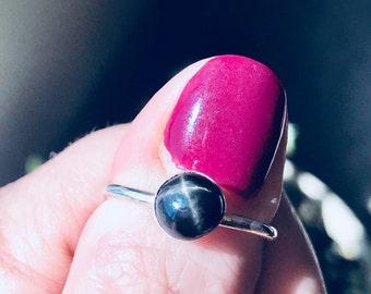 7MM Black Star Diopside Stacking Ring, Sterling Silver Ring, Gemstone Ring, Stacking Ring