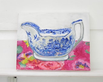 Gravy Boat on Chintz, original mixed media still life painting by Polly Jones
