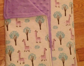 Purple and Teal Giraffe Baby Blanket