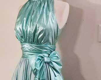 Vintage 1980s Iridescent Shiny Aqua Blue Dress Little Mermaid