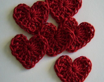 Red Crocheted Hearts - Cotton Hearts - Crocheted Heart Appliques - Crocheted Heart Embellishments - Set of 6