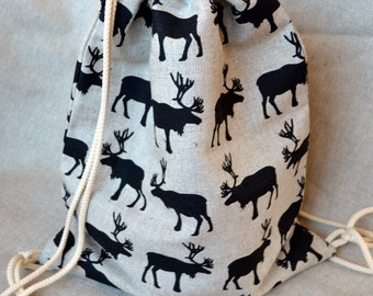Linen drawstring backpack // Bag with raindeer fabric // Gym backpack for children to go to School