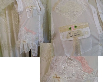 Romantic Shabby Blouse, victorian chic soft lace white cotton blouse womens refashioned clothing, SMALL MEDIUM