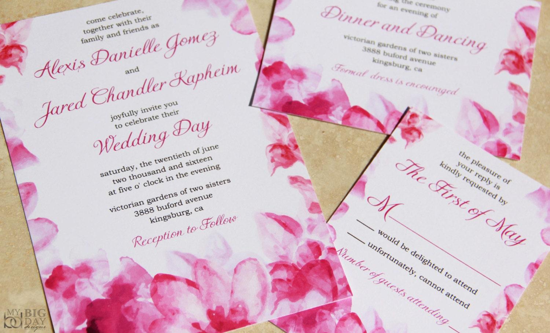 Pink rose Wedding Invitation Set. Watercolor flowers wedding