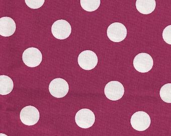Cotton purple and big white polka dots