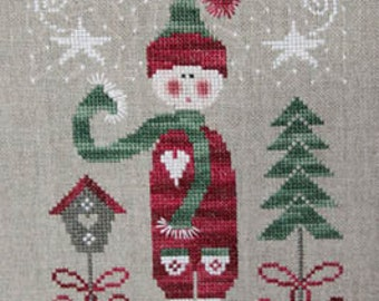 TRALALA Winter Elf Lutin de Noël counted cross stitch patterns at thecottageneedle.com December snow holidays Christmas