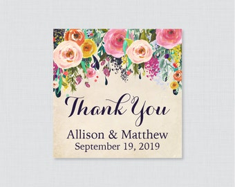 Printable OR Printed Wedding Favor Tags - Floral Square Favor Tags for Wedding, Personalized Wedding Favor Tags, Thank You Tag 0003-A