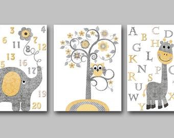 Canvas Nursery Alphabet Nursery Elephant Giraffe Yellow Grey Canvas Baby Girl Nursery Art Print Children Wall Art Baby Room Decor set of 3//