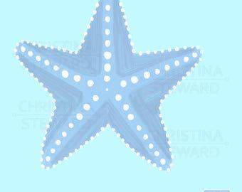 Starfish Clip Art, Blue Starfish, Beach Clip Art, Tropical Clip Art, Sea Art, Blue and White, Digital Download, Commercial Use, Digital File