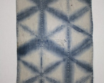 Japanese vintage old fabric indigo dye stripe and sekka-shibori (Tie-dye)cotton boro zokin sashiko hand stitch Tattered rag