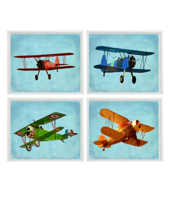 Boy S Room Airplane And Constellation Wall Map: Vintage Airplane Art Baby Boy Nursery Wall Art Big Boy