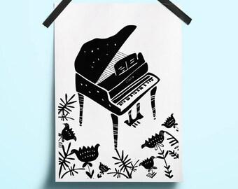 Art poster music Art musical instrument Music print illustration Jazz illustration Floral minimal art Floral black art Poster digital music