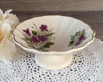 Vintage Sadler England Trinket dish on Pedestal / Porcelain compote bowl,  Candy Dish / Purple floral w/ Gold trim / Small Serving Dish