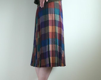 Plaid Inverted Pleats Skirt