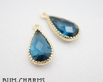F0022 - Framed Stone, Glossy Gold Plated, Simple Lace Skinny Teardrop Montana Dark Sapphire Blue Colored Glass Pendant, 2 Pieces