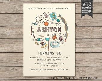 Science invitation, Science invite, Science birthday, Mad science birthday, mad science invite party - Instant Download Editable PDF