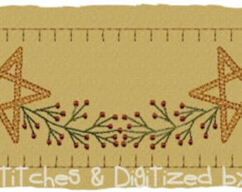 MACHINE EMBROIDERY-Berry Star Garland Towel Band- Motif-Large Split (2 parts) Immediate Download