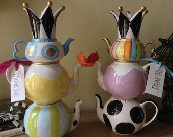 Stacked Teapots - Tea Party Centerpiece - Alice In Wonderland Decor