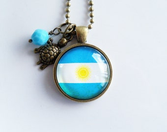Flag of Argentina Necklace - Argentinian Flag Jewelry - Country Flag - Patriotic Pendant - South America - Custom Jewelry - Blue and White