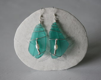 Turquoise Recycled Glass Earrings with White Pearls